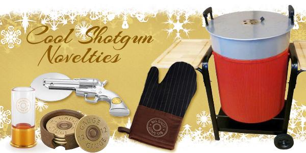 Shotgun novelty items_ including pizza cutter_ oven mitt_ grill_ coasters_ and shot glass