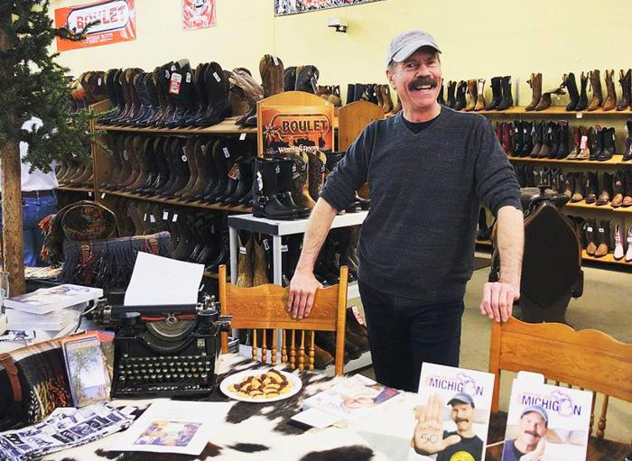 PBS TV_s Tom Daldin of Under the Radar Michigan doing a book signing at Scott Colburn Boots and Western Wear