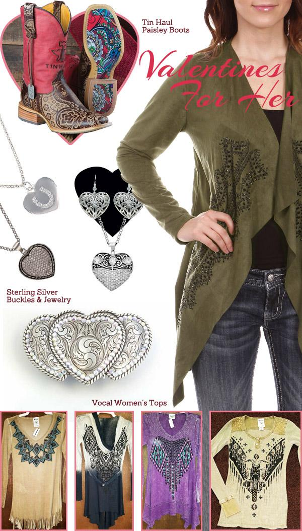 Western Valentines gifts for her - Women_s boots_ buckles_ sterling silver jewelry_ and shirts