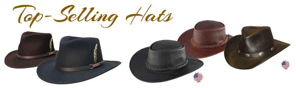 Western cowboy hats in felt and leather