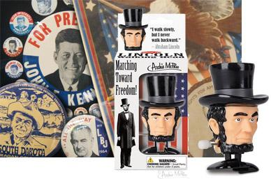 President Day - Campaign buttons and Abe Lincoln Bobblehead