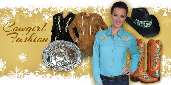 Women_s Western turquoise hat_ cowboy boots_ snap shirt_ belt buckle_ and suede fringe jackets