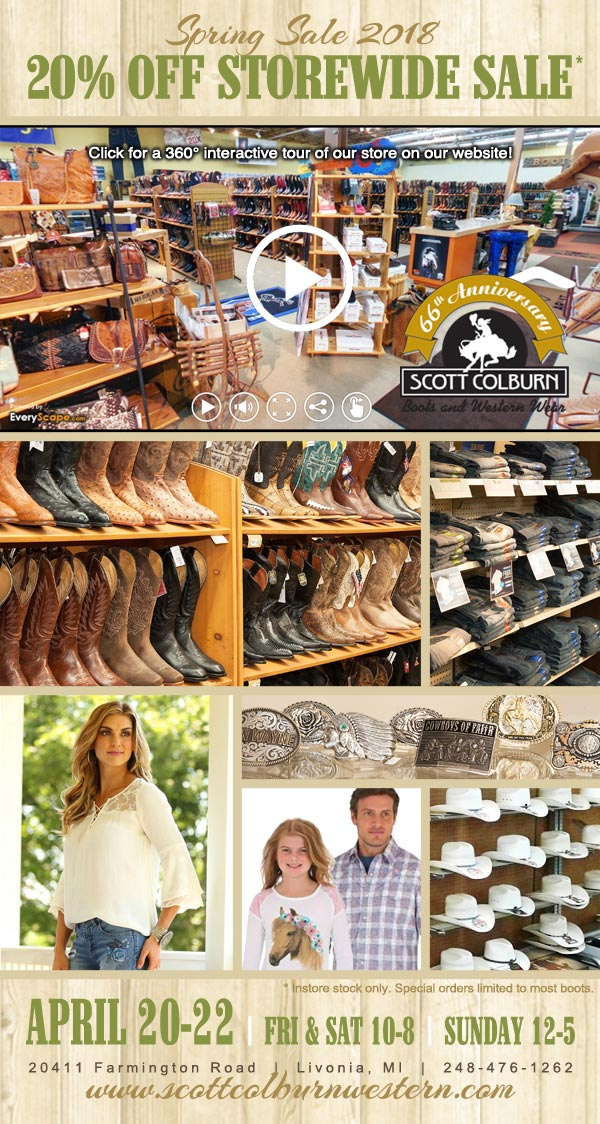 Scott Colburn Boots and Western Wear Spring Sale 2018