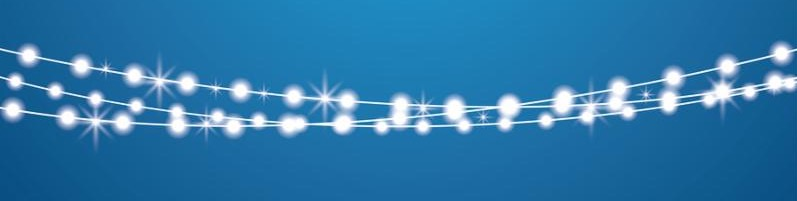 Christmas Lights String Isolated on Transparent Background. Xmas Glowing Lights. Garlands.