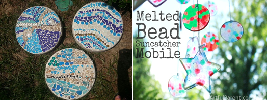 melted bead sun catcher and stepping stones