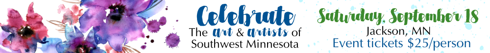 Watercolor splash flowers in purple and blue hues in left corner. Text_ Celebrate The Art _ Artists of Southwest Minnesota. Saturday_ September 18. Jackson_ MN. Event tickets _25_person