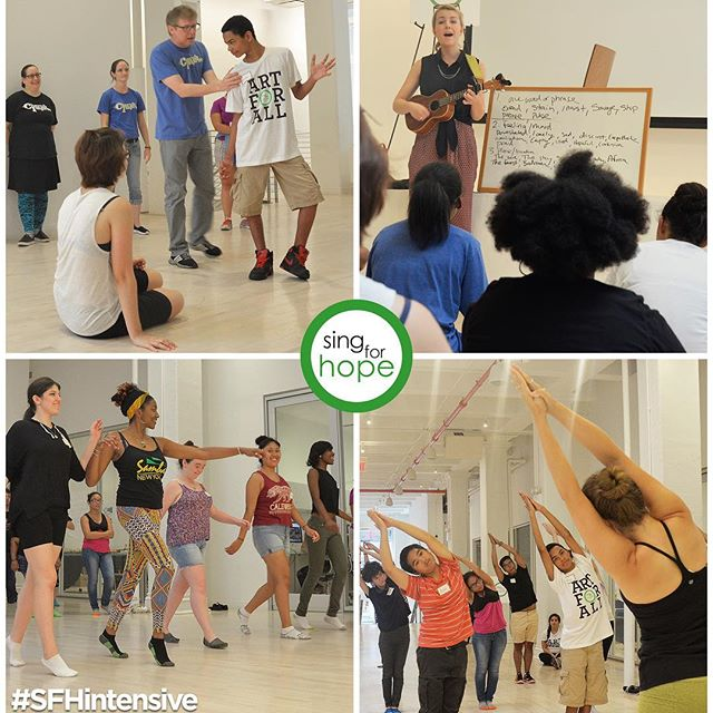 #SFHintensive Day 2!  From samba to songwriting, we had a ball with #SFHvolunteer CJ, @edgeofthemat, #CherubImprov & @HillCapps.  #ArtForAll