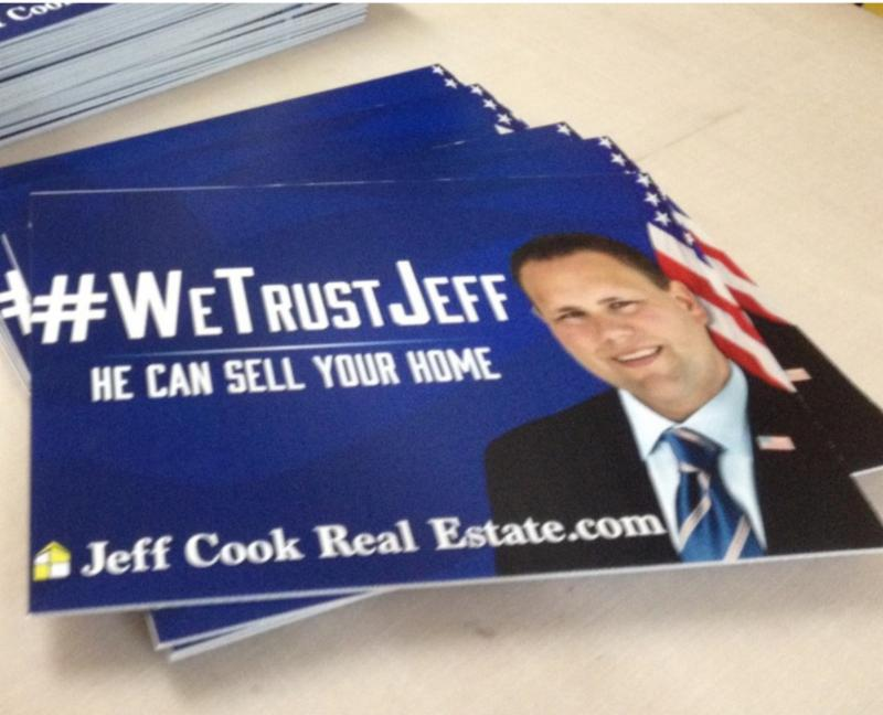 coroplast real estate sign for Jeff Cook