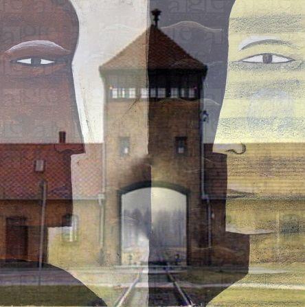 Faces with Auschwitz gates