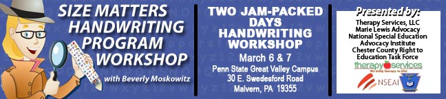 The Size Matters Handwriting Program 2-day Workshop
