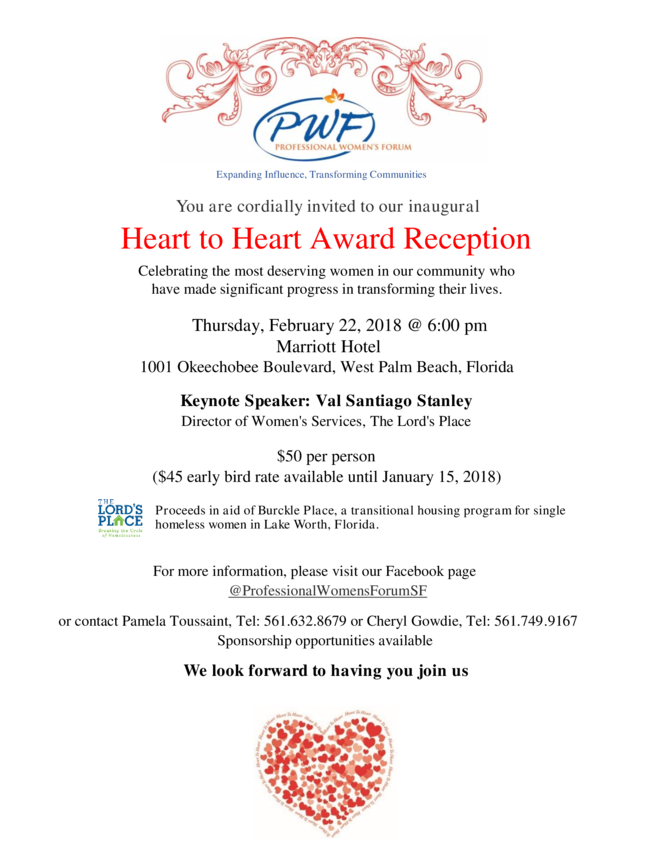 Heart to Heart Award Reception  Celebrating the most deserving women in our community who have made significant progress in transforming their lives.
