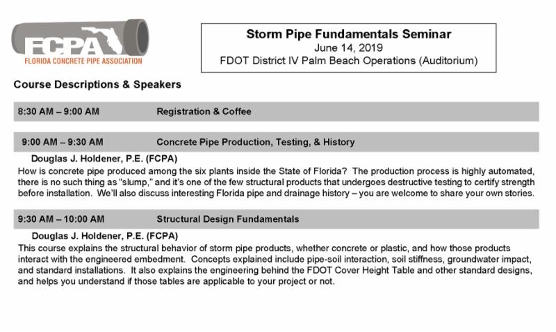 FCPA Storm Pipe Fundamentals - Palm Beach Summer 2019