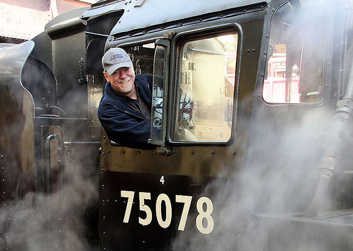 Bill on the footplate of 4MT 75068 at the KWVR