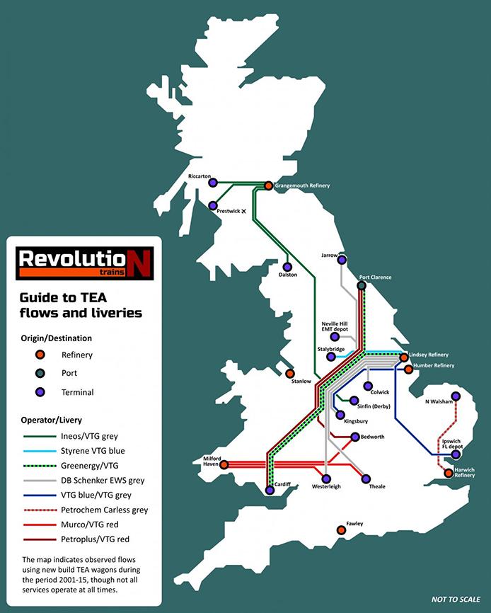 TEA Route Map, courtesy Revolution Trains