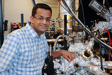 MIT physics graduate student Fahad Mahmood studies charge density waves of electrons in superconductive material in the lab of Nuh Gedik, the Lawrence C. (1944) and Sarah W. Biedenharn Career Development Associate Professor of Physics at MIT.