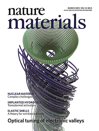 A paper demonstrating that electronic valleys in monolayer tungsten disulfide which can be manipulated with light, by MIT physics graduate student Edbert Jarvis Sie, senior author Nuh Gedik and colleagues made the March 2015 cover of Nature Materials.
