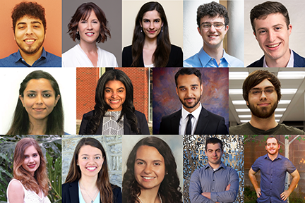 2017 Summer Scholars are [l-r, top row] Alejandro Aponte, Stephanie E. Bauman, Lucia G. Brunel, Richard B. (Ben) Canty, Stuart R. Daudlin, [middle row] Amrita (Amy) Duggal, Kaila N. Holloway, Saleem Iqbal, Ryan N. Kosciolek, [bottom row] Gaetana H. Mi