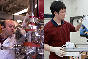 Ferhat Katmis (left), at molecular beam epitaxy cluster, and Peng Wei, at scanning electron microscope.