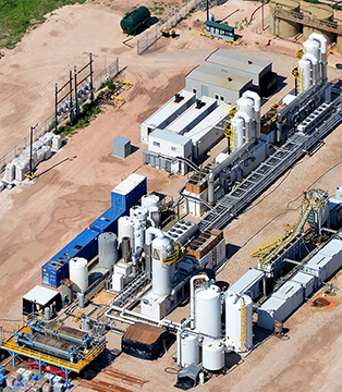 Gradiant's 12,000-barrel-per-day, carrier gas extraction plant (shown here), uses a humidification and dehumidification (HDH) technique that heats produced water into vapor, and condenses it back into water, without contaminants to yield freshwater.
