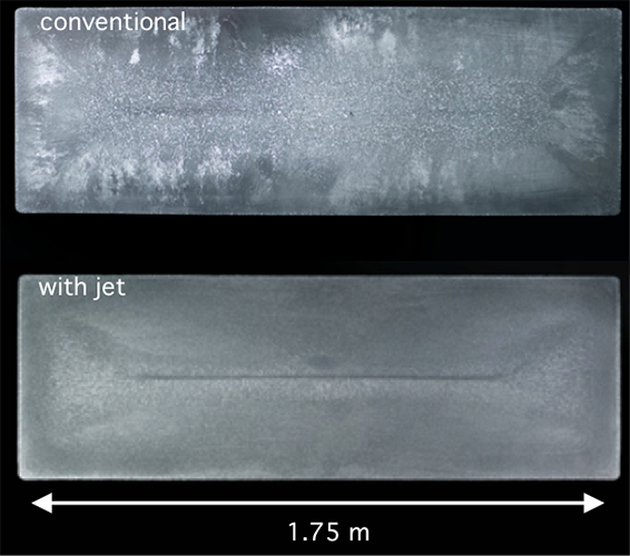 Comparison of solidified cross-sections from direct-chill cast aluminum ingots made using  using the conventional method _top_ and new jet metal process. Images courtesy of the researchers.