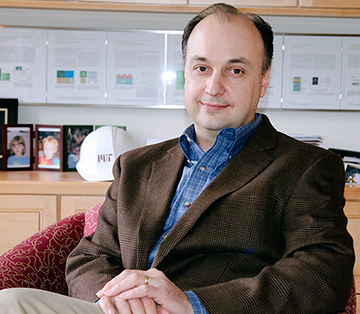 Professor Vladimir Bulović holds the Fariborz Maseeh Chair in Emerging Technology at MIT, heads the MIT Nano project and co-leads the MIT Innovation Initiative. His ONE Lab has been a hotbed of scientific discovery and he holds 75 patents covering innovations in solar energy, television displays and lighting. Photo, Maria E. Aglietti.