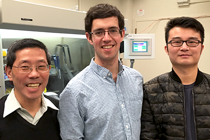 MIT Prof. of Materials Science & Engineering Yet-Ming Chiang, left, is working with senior MIT Harry Thaman and postdoc Linsen Li to study a new kind of electrolyte for self-healing lithium battery cells, which will be formed by adding iodine. Courtesy