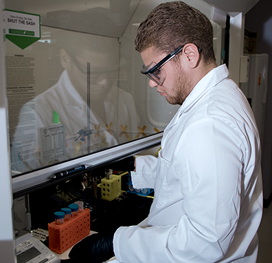 Summer Scholar Michael Concepci_n Santana synthesizes hydrogel-based polymers that can indicate changes in pH near a patient_s tumor in an MRI scan. Photo_ Denis Paiste_ Materials Processing Center.