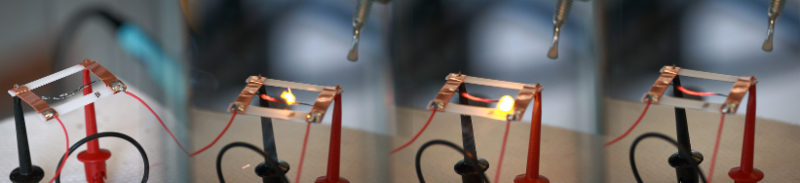 A fla acme travels across a fueled carbon nanofiber during an experiment in the Strano Lab.