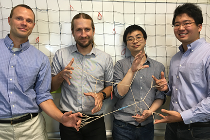 Professors Bradley Olsen, from left, and Jeremiah Johnson, postdoc Rui Wang, and grad student Ken Kawamoto demonstrate polymer elasticity using rubber bands. Photo, Hursh Vardhan Sureka