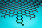 A new carbon-based catalyst can bond to the edges of two-dimensional sheets of graphene. Image courtesy of the researchers via MIT News Office.
