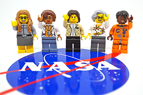 Minifigures of five NASA pioneers, from left to right, Margaret Hamilton, Katherine Johnson, Sally Ride, Nancy Grace Roman, and Mae Jemison, will appear in an official LEGO set originally designed by MIT staff member Maia Weinstock. Photo, Maia Weinstock
