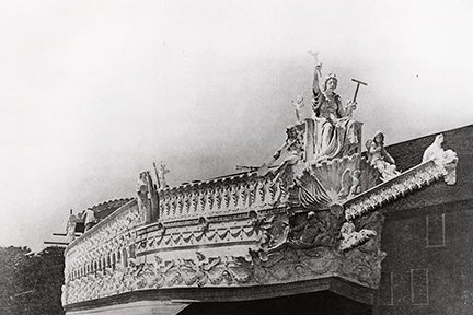 As part of the elaborate three-day ceremony that marked MIT_s move to Cambridge in 1916_ a reproduction of a Venetian barge was built to transport the Institute___s ceremonial mace across the river to its new home. Courtesy of MIT Museum