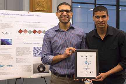 PolyClean, a team formed by PhD students Karim Gadelrab (left) and Mukarram Tahir, took home the $10,000 grand prize at the Oct. 11, 2016, MADMEC competition for developing a transparent, water-shedding coating for car windshields. Photo, Tara Fadenrecht