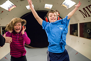 Children have a blast in the MIT wind tunnel. Photo, Ian MacLellan