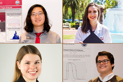 2016 Summer Scholars win admission to top grad schools, clockwise from top left, Justin Cheng, Alexandra Barth, Grant Smith, Ashley Kaiser.