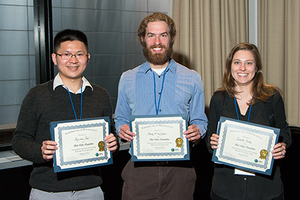 Materials Day Poster Session winners are_ from left_ Ping-Chun Tsai_ advised by Prof. Yet-Ming Chiang_ Frank P. McGrogan_ advised by Prof. Krystyn Van Vliet_ and Dr. Roberta Polak_ advised by Profs. Michael F. Rubner and Robert E. Cohen.