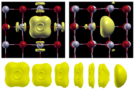 Red and gray spheres represent atoms of oxygen and barium in an atomic crystal lattice, while yellow shapes represent a place where two electrons replace an oxygen atom. Applying an electric field, right, distorts the lattice. Image, Felice Frankel.