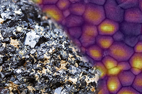 A sample of the mineral perovskite is shown in the foreground, while behind it is an image the researchers used to prove the effects of intense light on a thin film of perovskite. Image, MIT News