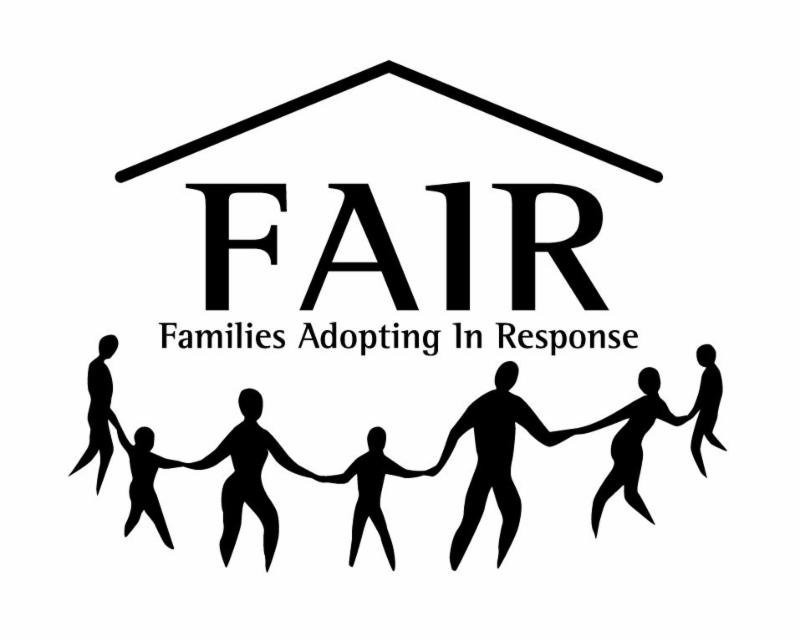 FAIR families logo of adults and children holding hands under a roof