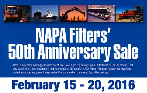 2016 NAPA Filter Sale