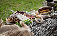 Native American food and a fur on a fallen tree.