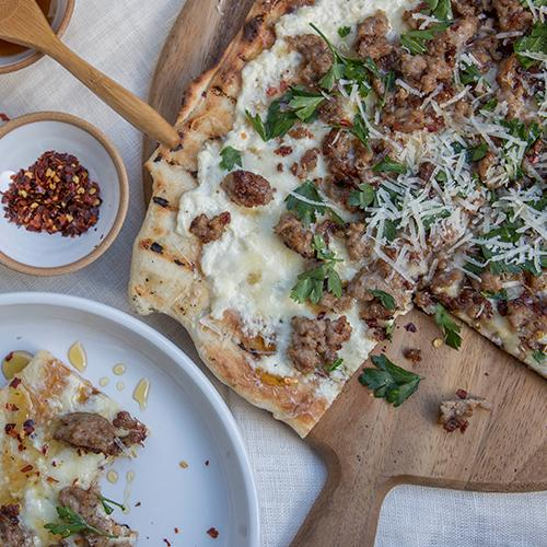 Grilled Sausage and Honey Pizza