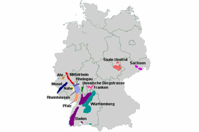 A map of Germany's wine growing regions.