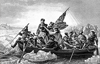 George Washington crossing the River Delaware during the Revolutionary War.