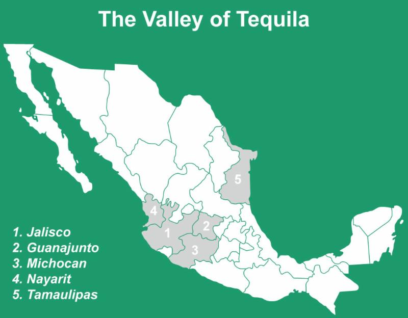 The Valley of Tequila Map