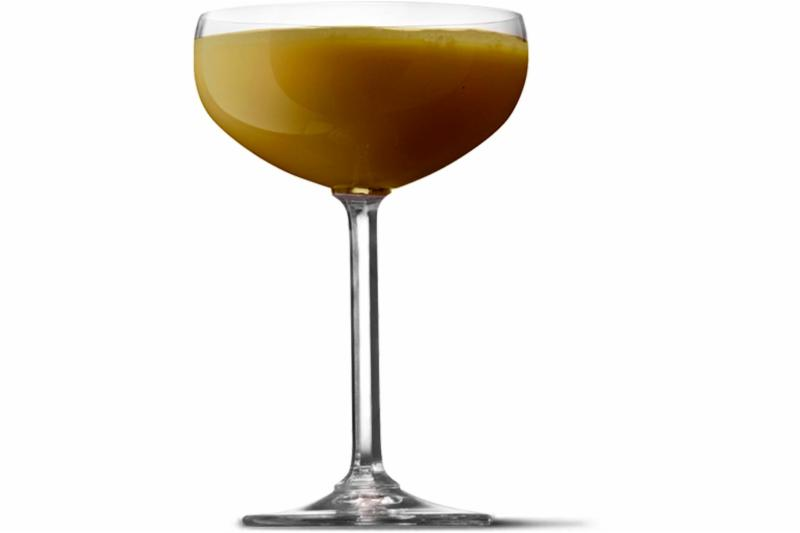 A UV Mounds martini in a cocktail glass.