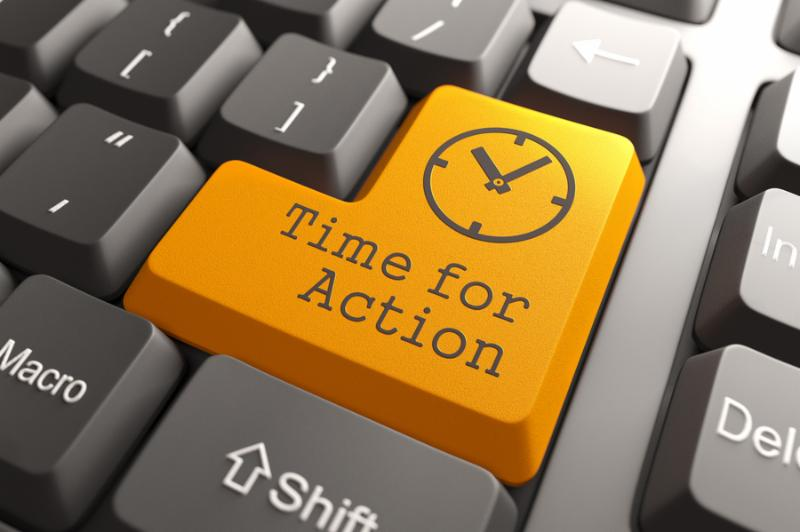 Orange Time For Action Button on Computer Keyboard. Business Concept.