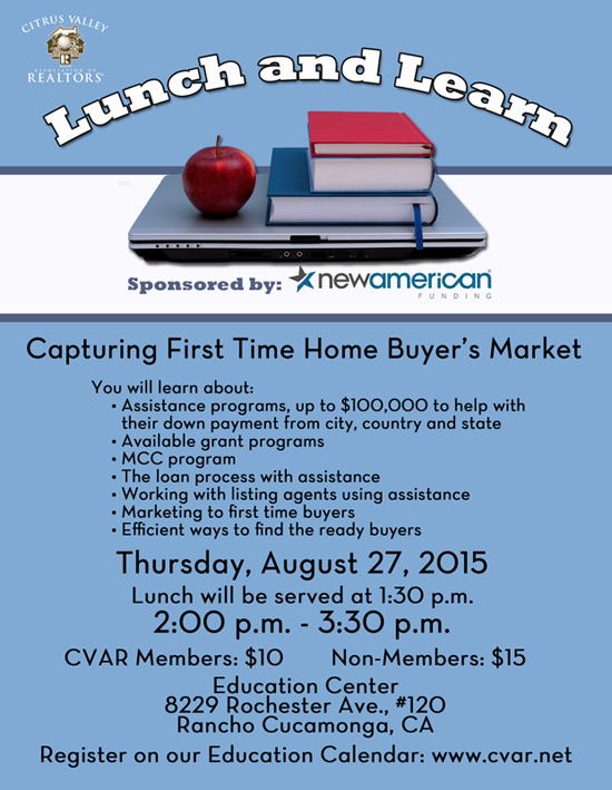 First time home buyer 39 s assistance programs lunch and learn for First time home buyer plan