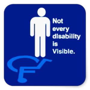 Image with blue background and a figure in white standing over its shadow which is a light blue figure in a wheelchair. Caption says_ Not every disability is visible_