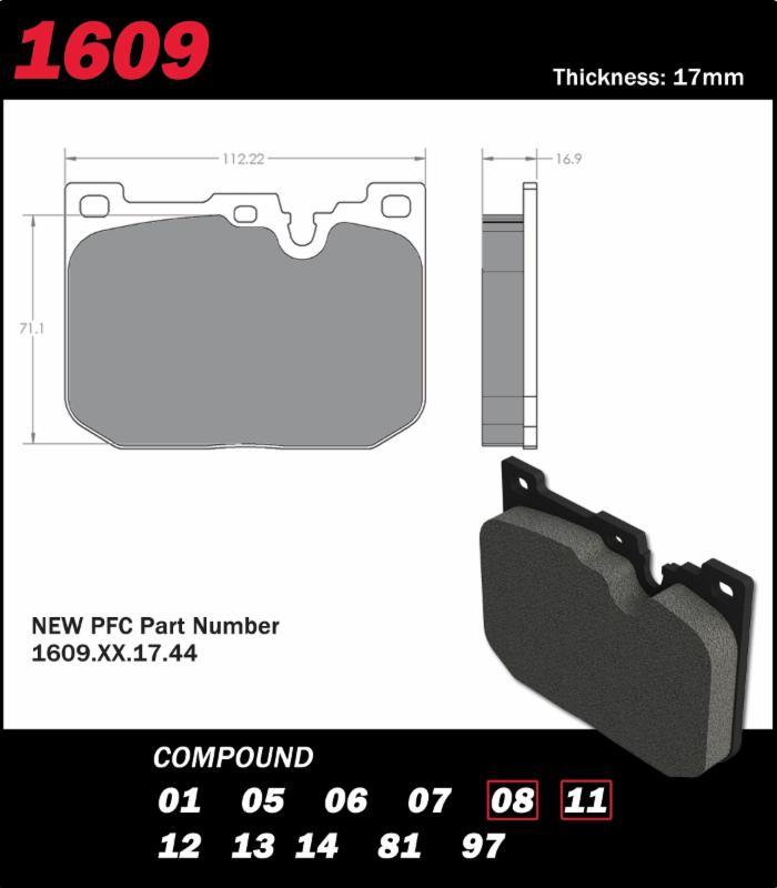 PFC Brakes 1609 MBW M Sport Pad Shape